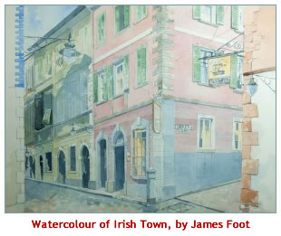 Watercolour of Irish Town Gibraltar By James Foot