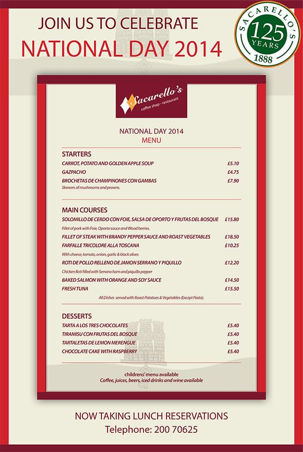 Sacarello's National Day Menu 2014