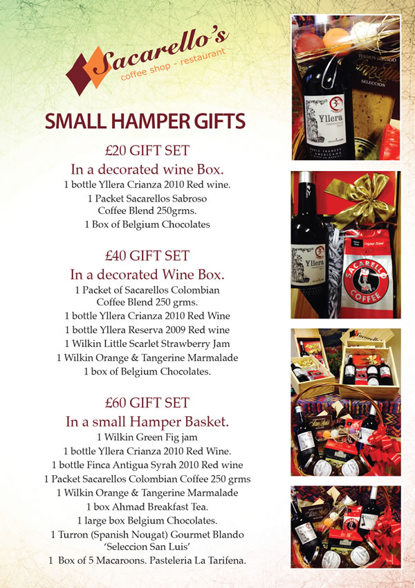 Small gifts and hampers from Sacarello's coffee shop, Gibraltar