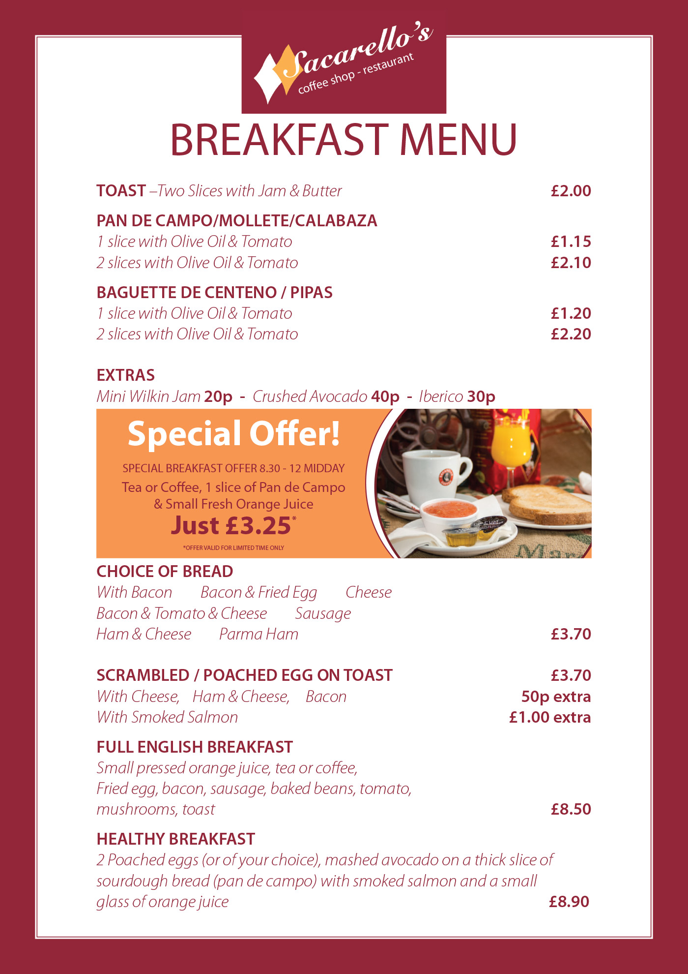 Sacarello's Breakfast Menu