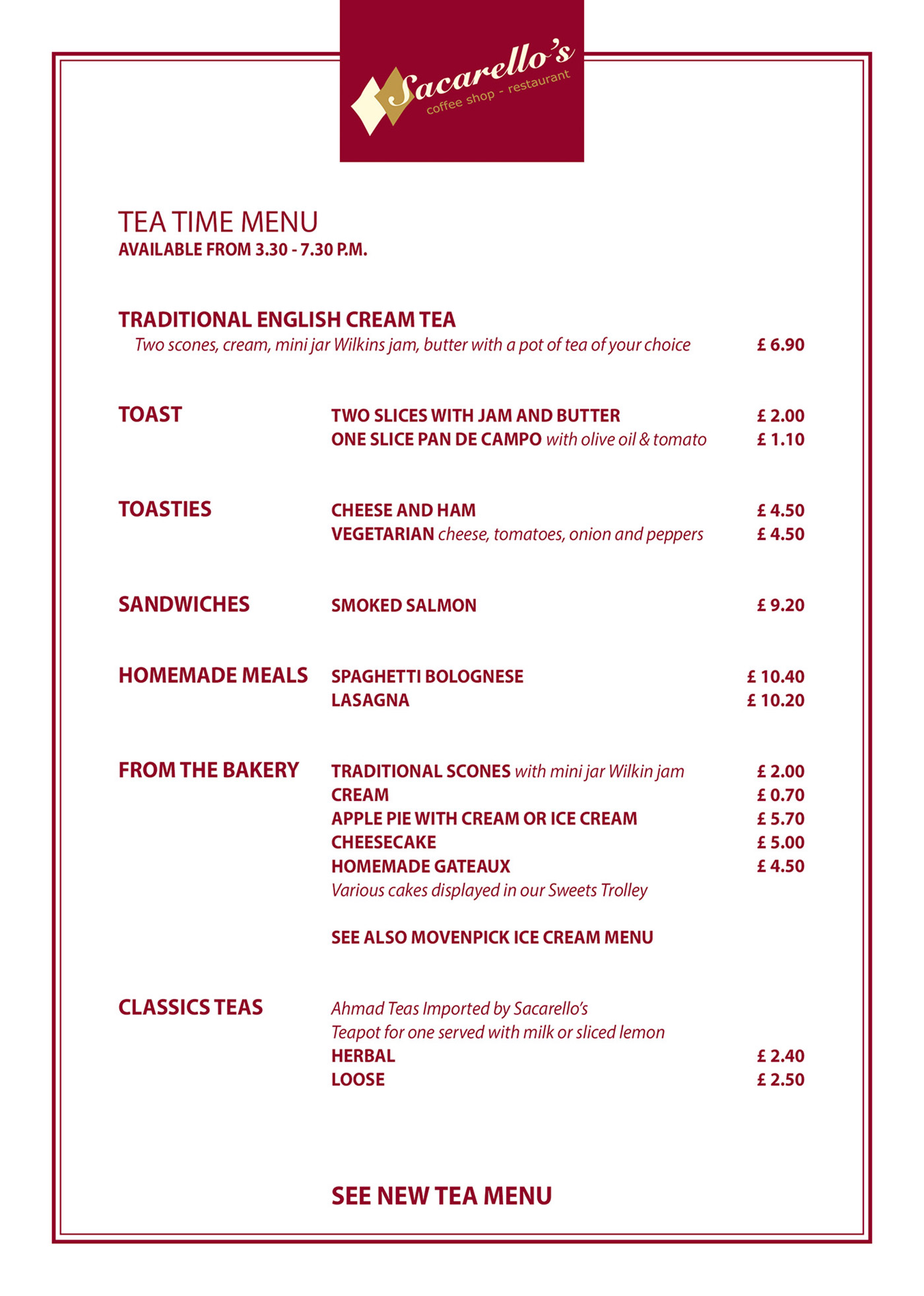 Sacarello's Cafe Tea Menu