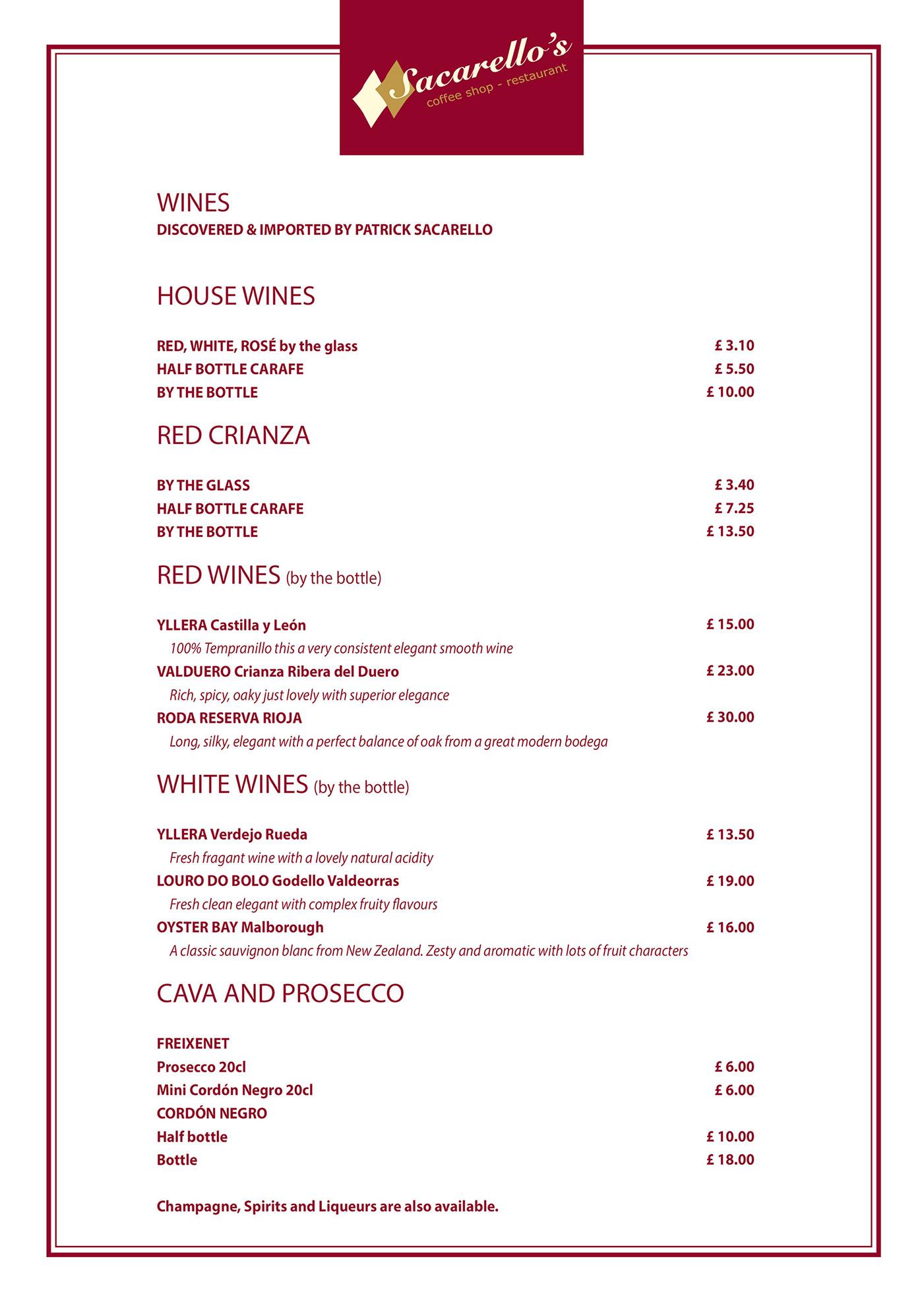 Sacarello's Gibraltar Wine menu