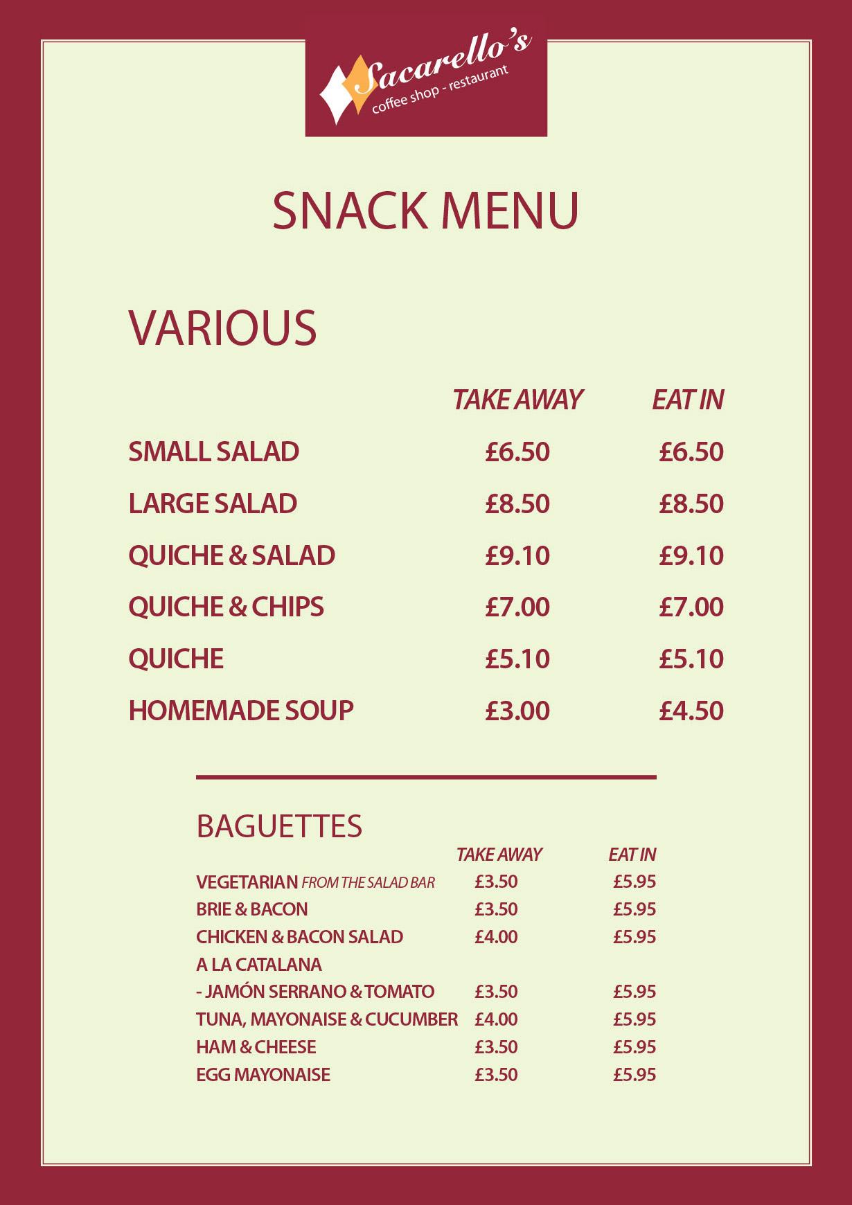 Sacarellos Gibraltar Snack Menu